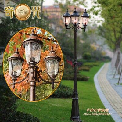 Klasyczne montażu na zewnątrz ogród światła e27 socket 3 głowice czekolady obudowa 220 v iluminacion del paisaje 2.2 M wysoki słup lampa