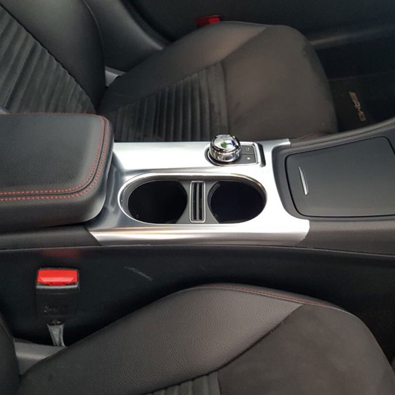 Matte ABS Chrome Cup Holder Cover Trim For Mercedes Benz A/GLA/CLA Class C117 W117 W176 X156 2012-17 AMG Car Accessory For LHD