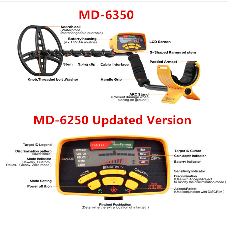 MD-6350 Underground Metal Detector Gold Detectors MD6350, Treasure Hunter Detector Circuit Metales md 3010ii lcd back light display underground metal detector treasure hunter hobby upgraded metal detectors md3010ii