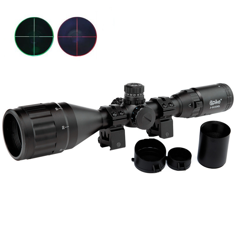 цены  3-9X50AOL Hunting Riflescope Tactical Optics Airsoft Air Guns Scopes Green/Red Dot Illuminated Sniper Pistol Reflex Rifle Sight