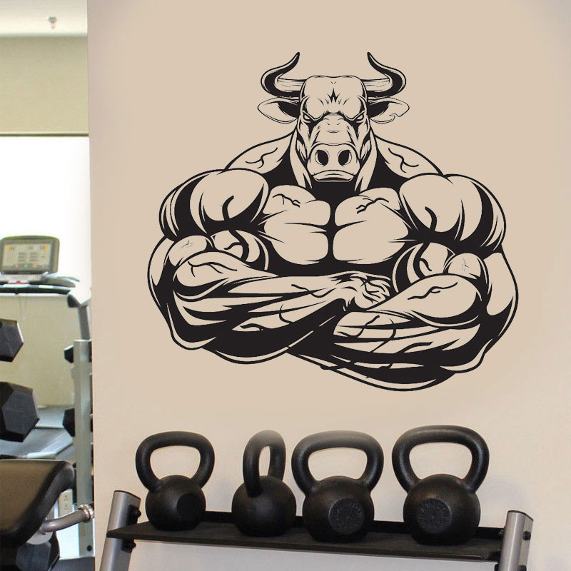 Gym Bull Barbell Fitness Wall Sticker Vinyl Home Decor Removable Interior Decal DIY Self-adhesive Plane Wallpaper Mural G-08