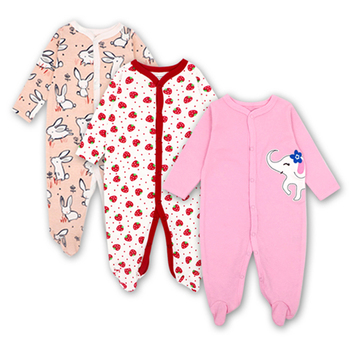 Newborns Baby girl clothes New born rompers long sleeved 100%cotton  cartoon Infant jumpsuits 3pcs/set 0-12months