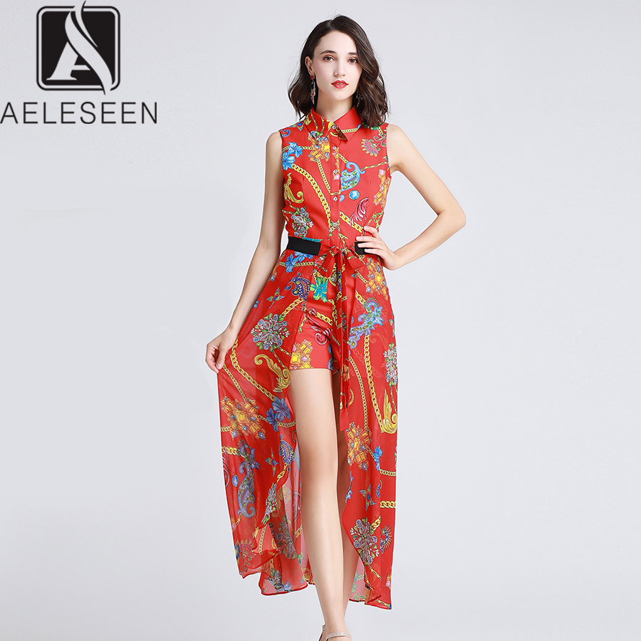 AELESEEN Vintage Runway Design Dresses Women 2019 Summer Floral Print Single Breasted Turn down Collar Red