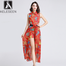 AELESEEN Single-Breasted Women Floral