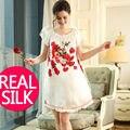 100% camisolas de seda pura mulheres vestidos de Casa Sexy sleepwear camisola DE SEDA camisola DE CETIM estilo Verão vestido Floral