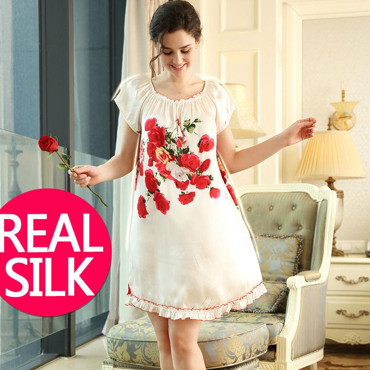 100% pure soie chemises de nuit femmes vêtements de nuit sexy robes de maison soie chemise de nuit SATIN nuisette d'été style Floral robe