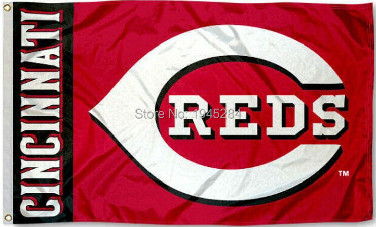 MLB Cincinnati Reds Wordmark Flag Banner New 3x5ft 90x150cm Polyester 8809, free shipping