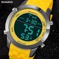 Мужчины спортивные часы мужчины цифровые часы желтый резиновые наручные часы 2017 BOAMIGO модный бренд СВЕТОДИОДНЫЙ дисплей красный часы 30 М водонепроницаемый
