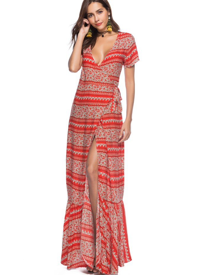 2018 New Print Bohemia Holiday Style dress Women Boho Longuette Slim Summer Beach Sexy Tie laddy Braces dress Sun protection