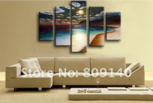 Free Shipping Oil Painting Canvas Beach Sea Scenery Modern Home Office  Decoration Wall Art Decor High