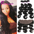 8A Brazilian Virgin Hair 3 Bundles With Closure Lace Frontal Closure With Bundles Human Hair Brazilian Body Wave With Closure