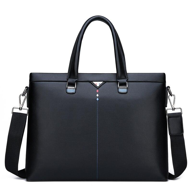 New Men'S Bag Fashionable Soft Leather Zipper Handbag Gennune Leather Business Briefcase Computer Bag Messenger Bag