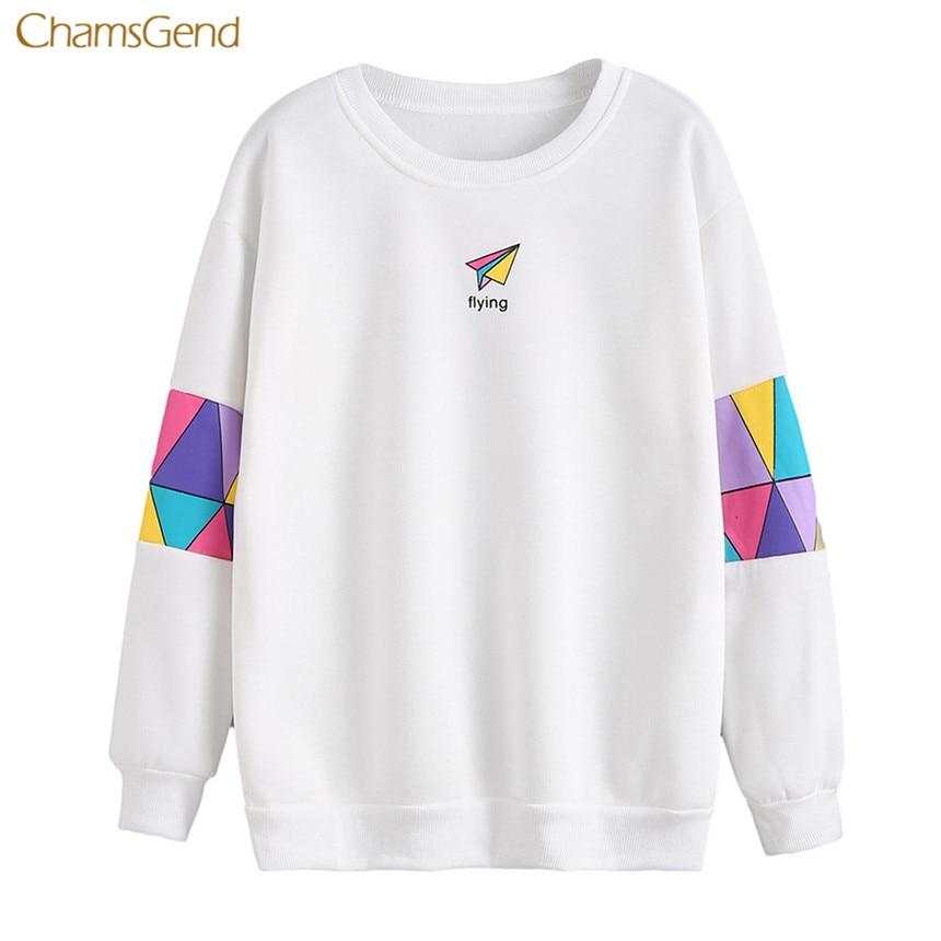 CHAMSGEND 2018 Women Hoodies Sweatshirt Casual Style long Sleeve Letter Print Sweatshirt Women Pullovers Hoodies Winter Warm