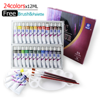 Water resistant 24 Colors 12ML Tube Acrylic Paint set color Nail glass Art Painting paint for fabric Drawing Tools For Kids DIY