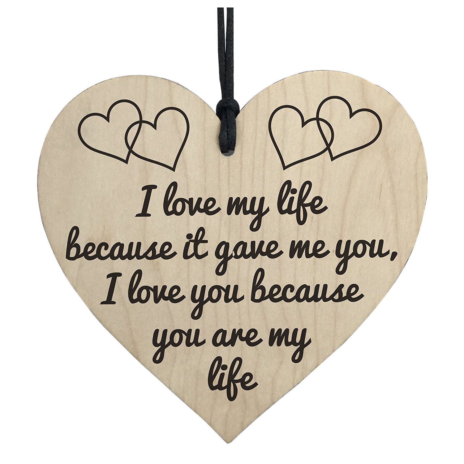 HOT SALE I Love You You Are My Life Wooden Hanging Heart Anniversary Valentines Gift Sign