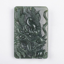 Wholesale Chinese hand carved xinjiang Hetian qing jade Dragon pendant stone necklace Lucky Amulet couple fine jewelry gift