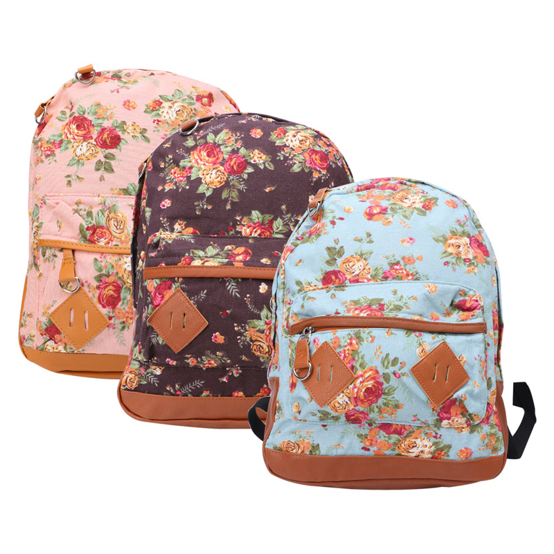 THINKTHENDO Brand Women Fashion Vintage Cute Flower School Campus Book Bag Lady Backpack New 2016 hot sale fashion canvas cute mustache school book bag vintage women backpack casual women backpack
