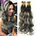 Balayage Ombre 2 Tone 1b/Grey Tape Hair Brazilian Virgin Remy Human Hair Extension Skin Weft Heart Shape Tape In Hair Extensions