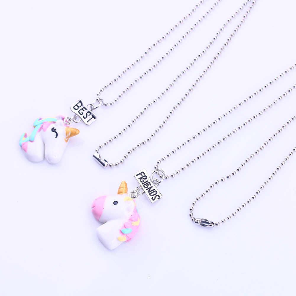 2Pcs/Set Resin Animal Unicorn Pendant BFF Necklace Choker Best Friends Friendship Necklace for Children Boys and Girls