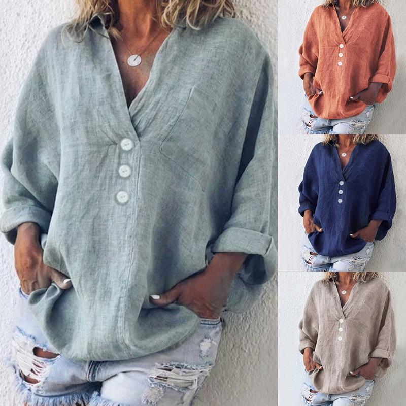 2019 Autumn Solid Women   Shirts   Plus Size 5XL Casual V-neck Cotton   Blouse   Women Camisa Long Sleeve Linen   Blouses     Shirts   Female