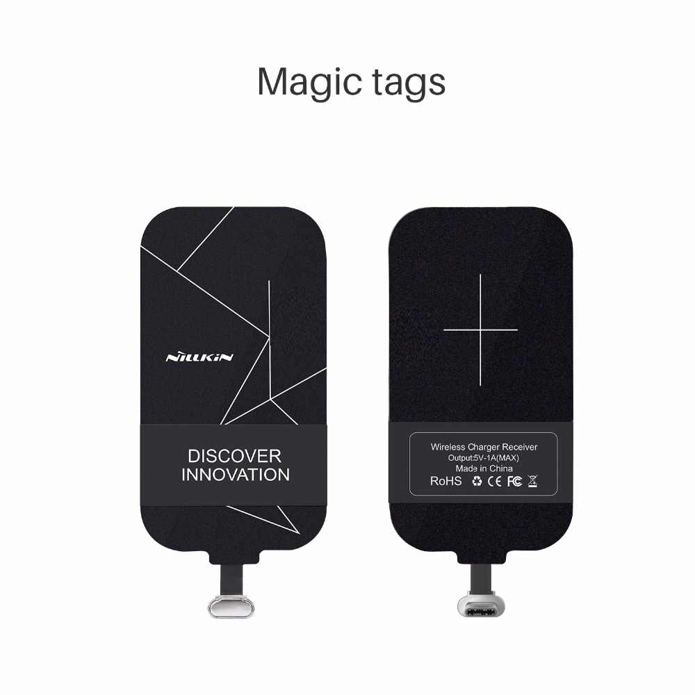 Universal QI Wireless Charger Receiver Pengisian NILLKIN Magic Kategori Micro USB/Tipe C Adaptor untuk iPhone 5 5 S SE 6 6 S 7 Plus