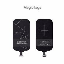 Evrensel Qi kablosuz şarj alıcısı şarj Nillkin sihirli etiketleri mikro USB/tip C adaptörü için iphone 5 5S SE 6 6S 7 artı