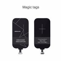 Cep telefonları ve Telekomünikasyon Ürünleri'ten Cep Telefonu Şarj Cihazları'de Evrensel Qi kablosuz şarj alıcısı şarj Nillkin sihirli etiketleri mikro usb/tip C adaptörü için iphone 5 5S SE 6 6S 7 artı