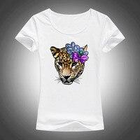 Leopar baskılı yaz kadın t shirt kısa kollu moda çiçek kız novetly T-shirt camiseta