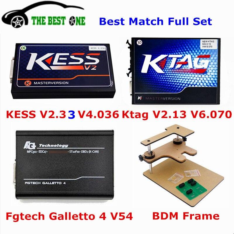Цена за 2017 Бесплатная доставка DHL KESS V4.036 V2.33 + KTAG V6.070 V2.13 + FGTECH Galletto 4 Мастер V54 + BDM Рамка K тег K-тег мастер 6.070 4.036