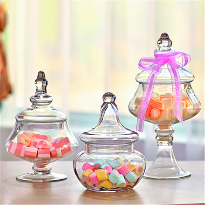Creative Transparent Glass Candy Jar Bottles Dust Proof