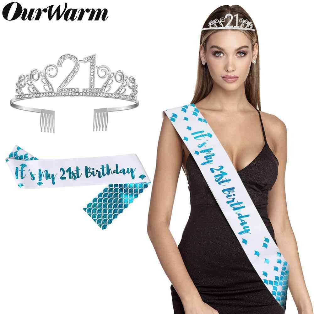 OurWarm chica brillo sirena marco 180X10 cm niñas cumpleaños princesa corona 21st decoraciones de fiesta de cumpleaños decoración