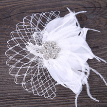 New White Tulle Cap Wedding Hair Accessories Feather Birdcage Net Fascinator Veil Hairpins Hair Clips Bridal Women Hair Jewelry(China)