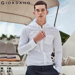 Image 5 - Giordano męskie koszule Oxford bawełna zmarszczek darmowe koszula długie rękawy Slim Fit dorywczo Camisa Masculina przycisk społecznej koszulka Homme