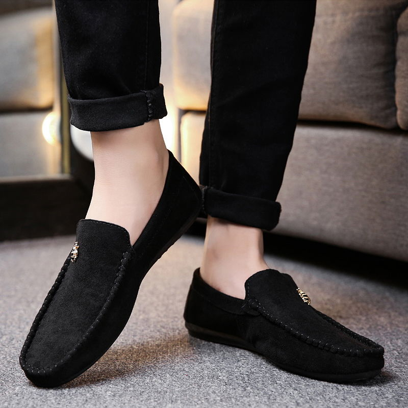 Juyouki Natural Cow Suede Bees Men's Casual Shoes Alligator Style Men Loafers Slip on Lazy Shoes Wiht Male Outdoor Shoes 4