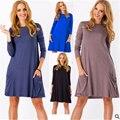 Autumn Winter Blusas Women Long Sleeve Pocket Solid O-Neck Casual Vestidos Plus Size Loose Dress