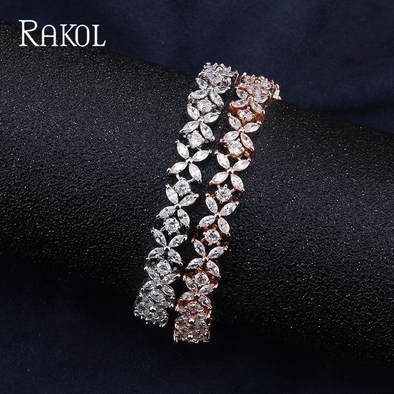 RAKOL Delicate Cut CZ Stones Leaves Dazzling Fashionable Chain Bracelets For Women Silver Color/Rose Gold Color Bangles Jewelry
