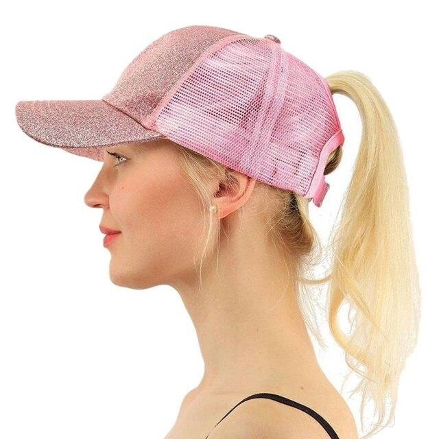 *New Glitter Ponytail Baseball Cap Sequins Shiny Messy Bun Snapback Hat Sun Caps For Running Hiking* 5