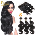 Ear To Ear silk Lace Frontal Closure With 3 Bundles 100g Body Wave 13 *4 8A Virgin Brazilian Hair Natural Black Human Hair Weave