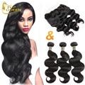 Ear To Ear silk Lace Frontal Closure With 3 Bundles 100g Body Wave 13 *4 8A Virgin Brazilian Hair Natural Black Human Hair Weave