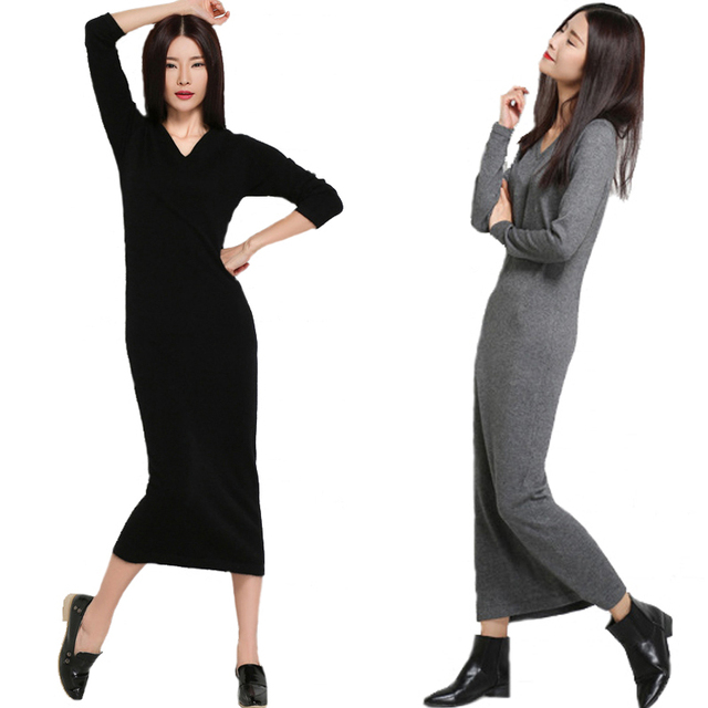 Cashmere Sweater Dress New Autumn Winter V Neck Maxi Cashmere Sweater Dress Women Slim Warm Knitwear Long Pullover Dresses Wool