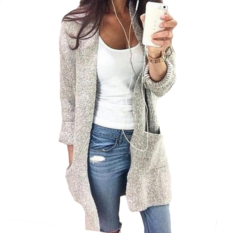 2018 European autumn and winter new sweater cardigan female long section long sleeve large pocket women sweater 17147
