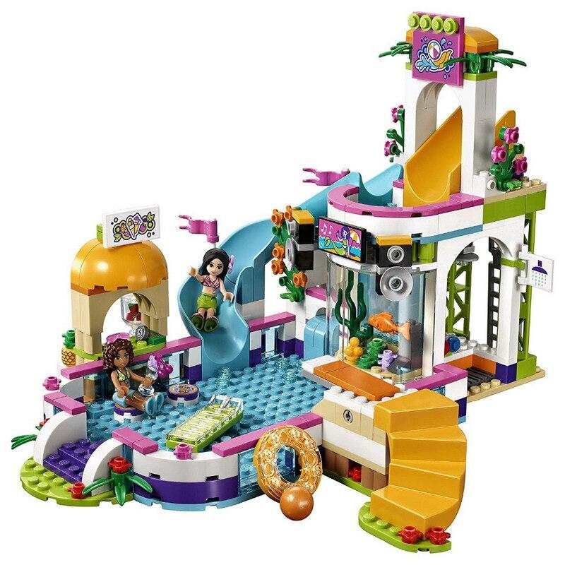 01013 LEPIN Friends Series Heartlake Summer Pool Model Building Blocks Enlighten DIY Figure Toys For Children Compatible Legoe