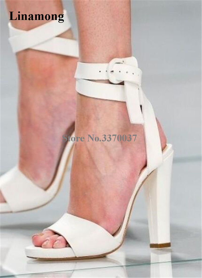 New Fashion Women Summer White Suede Leather Chunky Heel Gladiator Sandals Ankle Strap Buckle Design Thick Heel Sandals fashion women s sandals with metal and stiletto heel design