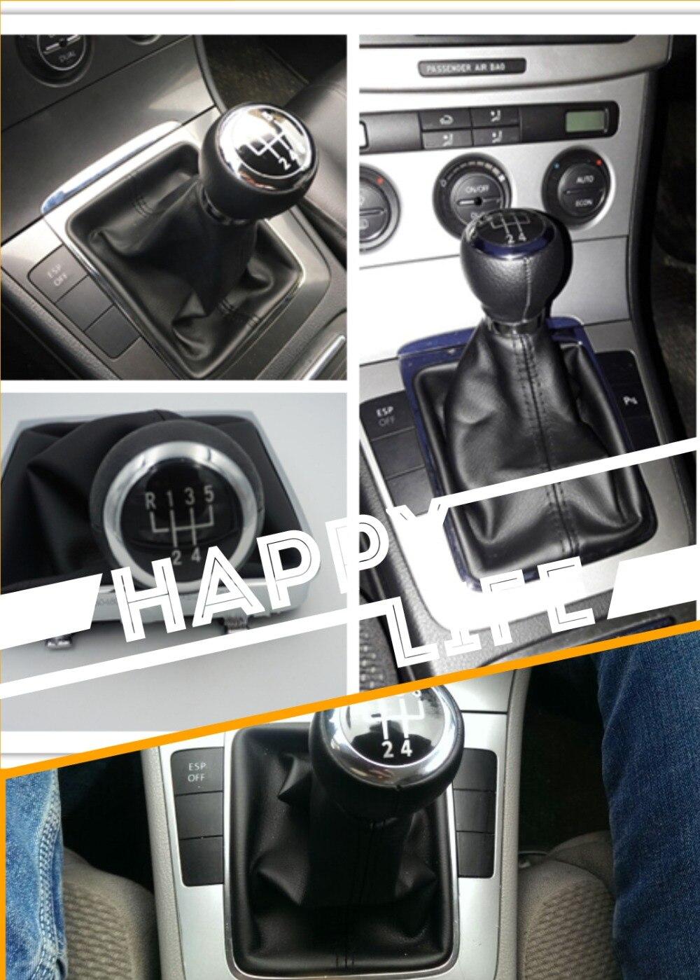 Knoflík 5 rychlostní černé PU kůže řadicí páky pro Passat B6 vnitřní průměr otvoru velikost 13 mm