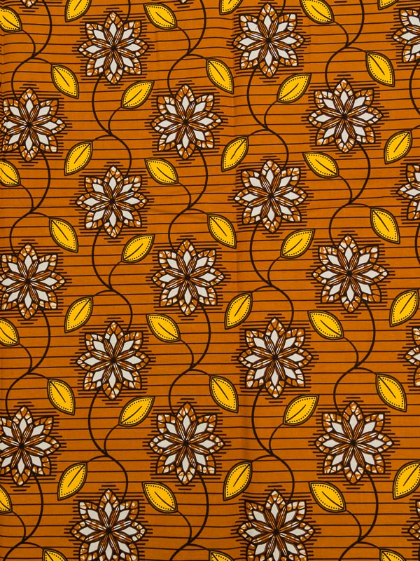 African Batik Fabric Real Wax Orange Yellow Flowers