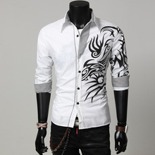 2017 new fashion male long sleeve casual slim shirts / men's contrast color dragon printing shirt