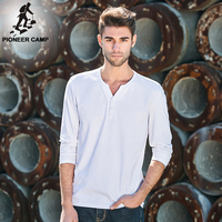 Pioneer Camp Free Shipping 2016 Spring New Fashion Mens T Shirt Long Sleeve V Neck White