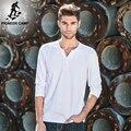 Pioneer camp t-shirt dos homens de manga comprida com decote em v de algodão branco t Homens da camisa Nova Moda Sólidos Slim Fit Tshirts Spandex Masculino 522180