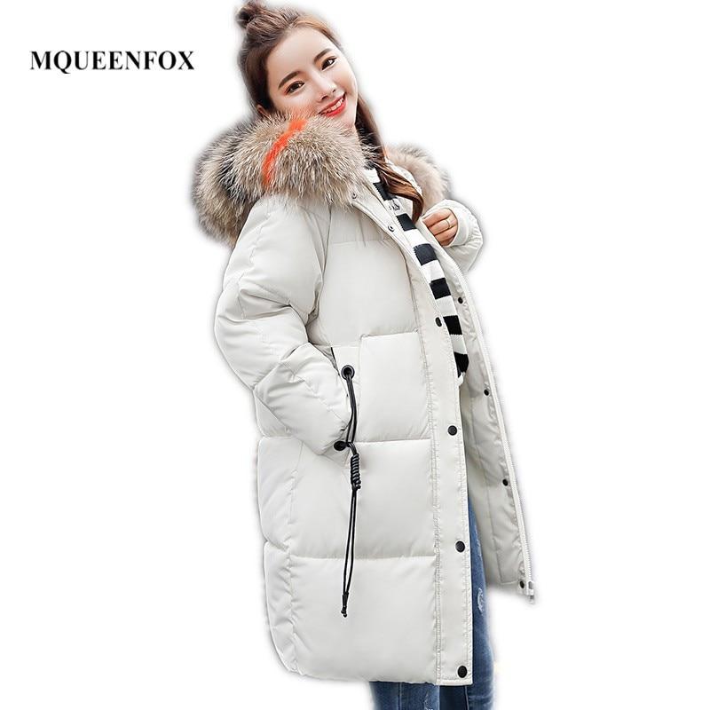 2019 New Winter Female Jacket Coat Big Fur Collar Women's Down Jacket Long Large Size Warm Jacket Women Chaqueta Mujer
