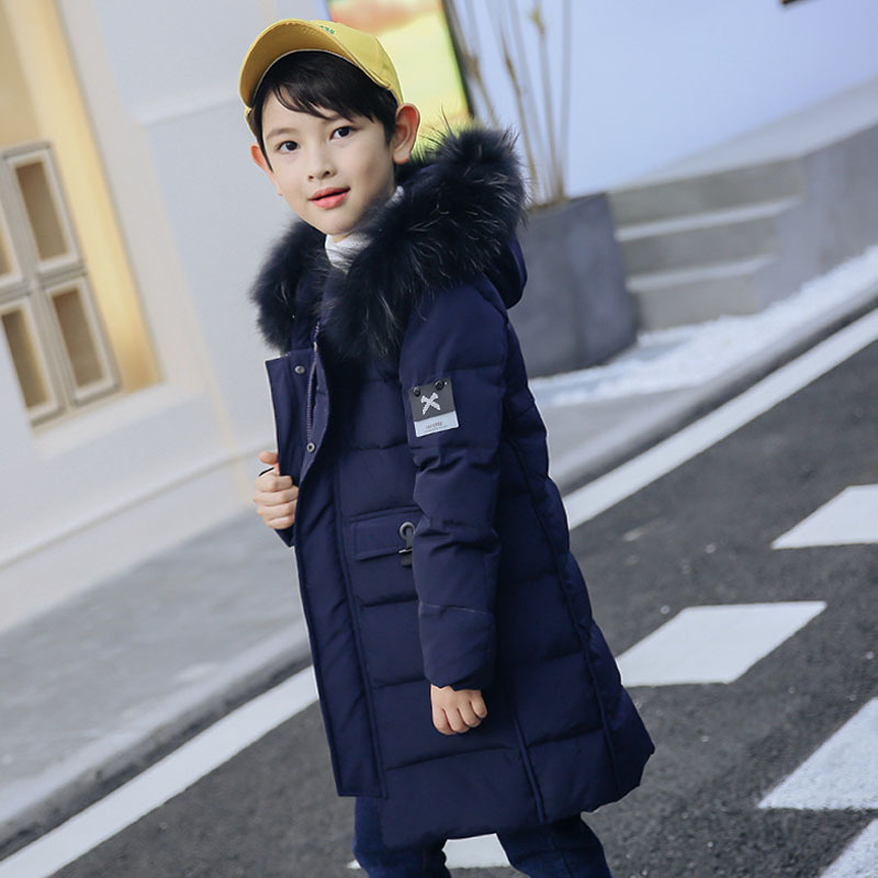 Children's down jacket boys' medium and long section thickening 2018 children's casual winter suit boys girls down jacket long section children winter thickening outerwer 80
